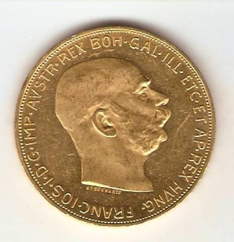 Moeda de Ouro 100 Coroas Austríaca. - Numismática Vieira
