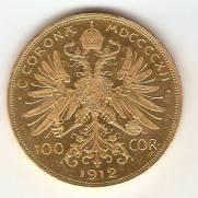 Moeda de Ouro 100 Coroas Austríaca.
