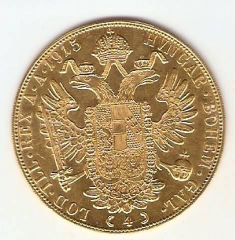 Moeda de Ouro 4 Ducados Austríaco - Ouro 22K - 14,0gr - Numismática Vieira