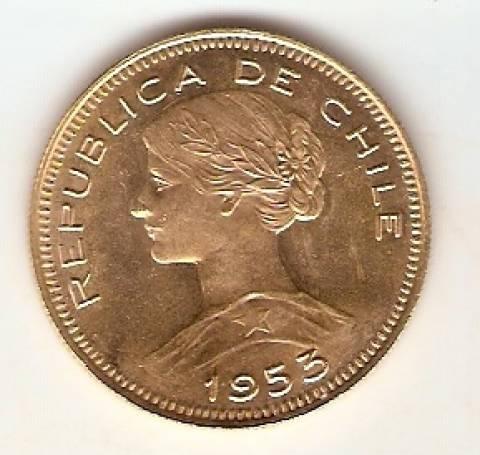 Moeda de Ouro 100 Pesos Chileno. - Numismática Vieira