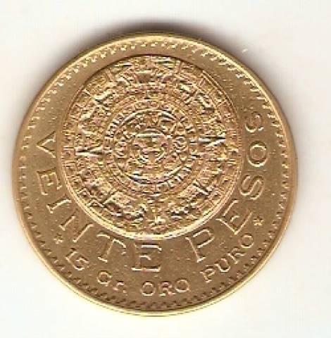 Moeda de Ouro 20 Pesos Mexicano - Ouro 22K - 16,6gr.   - Numismática Vieira