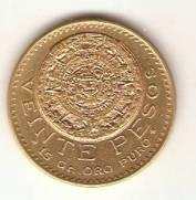 Moeda de Ouro 20 Pesos Mexicano - Ouro 22K - 16,6gr.