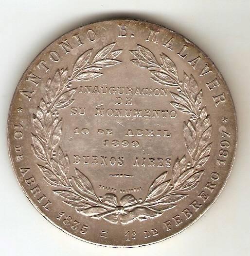 Medalha Comemorativa a Inauguração do Monumento de Antonio E. Malaver - Numismática Vieira
