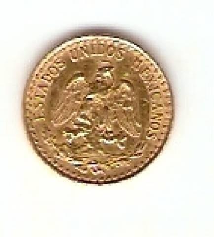 Moeda de Ouro 2 Pesos Mexicano - Numismática Vieira