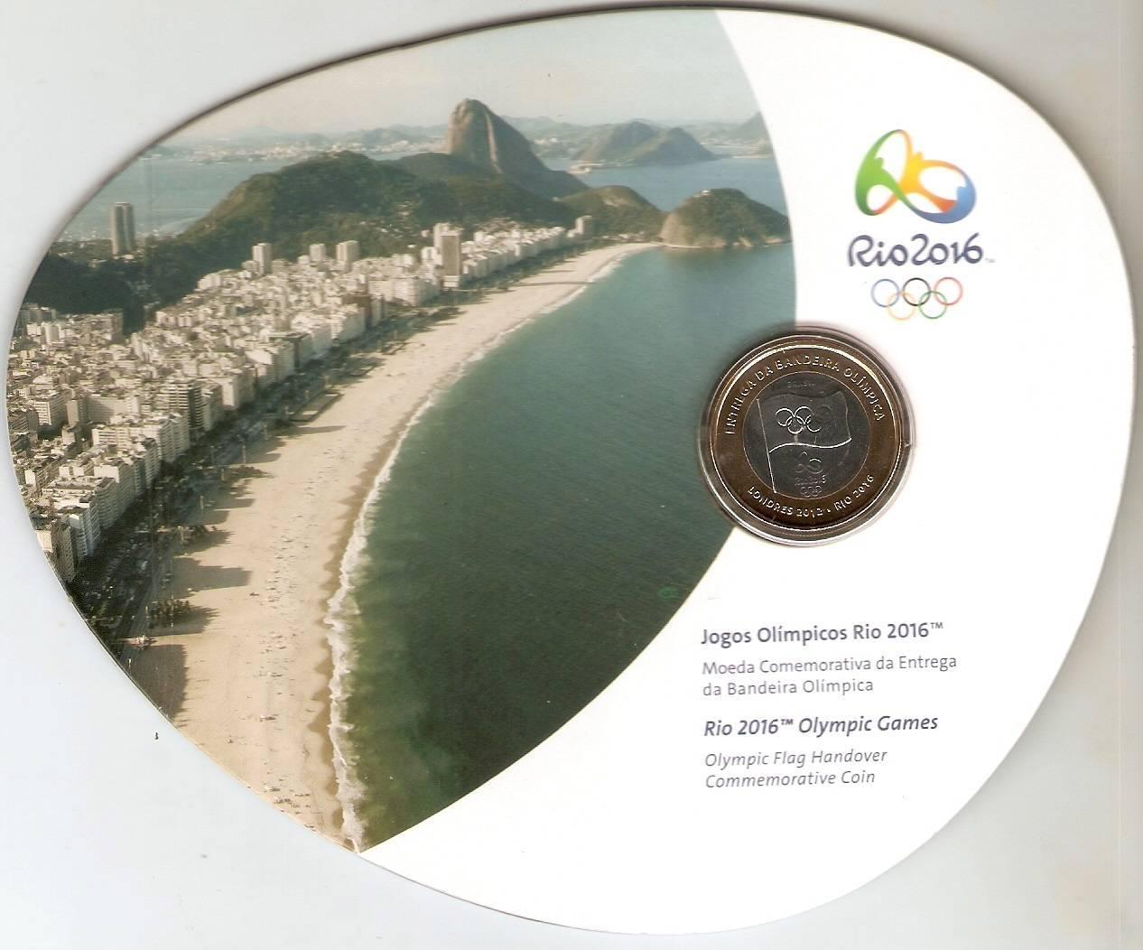 Cartela com a Moeda Comemorativa a entrega da bandeira Olímpica.. - Numismática Vieira