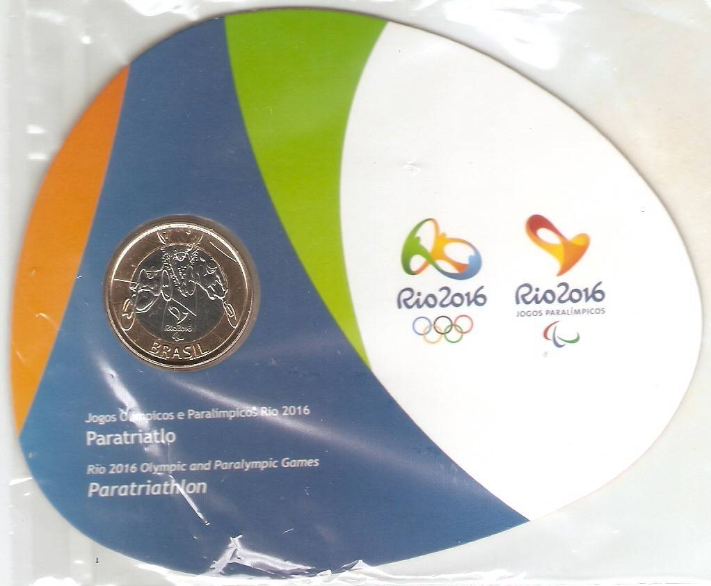 Cartela com a Moeda Comemorativa aos jogos Olímpicos e Paralímpicos - Paratriatlo - Numismática Vieira