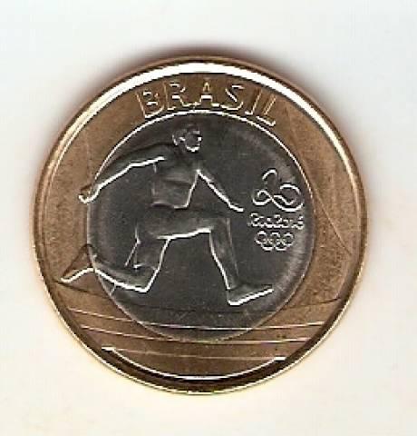 Moeda de Um Real Comemorativa aos Jogos Olímpicos Rio 2016 - Atletismo - Numismática Vieira