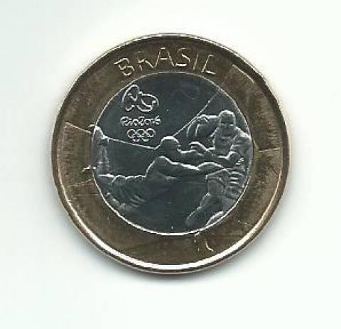 Moeda de Um Real Comemorativa aos Jogos Olímpicos Rio 2016 - Rugby - Numismática Vieira