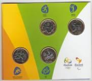 Cartela Com a Terceira Série das Moedas das Olimpíadas e Paraolimpíadas Rio 2016