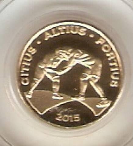 Moeda de Ouro Comemorativa aos Jogos Olímpicos e Paralímpicos de 2016 - Luta Olímpica - Numismática Vieira