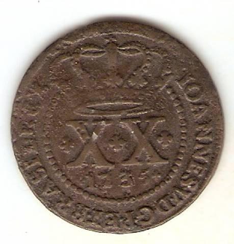 Catálogo Vieira Nº 073 - XX Réis 1735 - Numismática Vieira