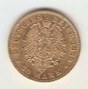 Moeda de Ouro Alemanha Prussia 20 Marcos   1888