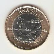 Moeda de Um Real Comemorativa aos Jogos Olímpicos Rio 2016 - Natação Paralímpica.
