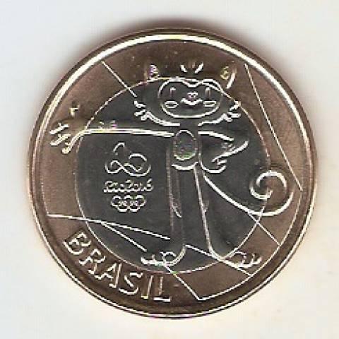 Moeda de Um Real Comemorativa aos Jogos Olímpicos Rio 2016 - Mascote Olímpico - Vinicius. - Numismática Vieira