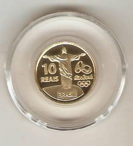 Moeda de Ouro Comemorativa aos Jogos Olímpicos e Paralímpicos de 2016 - Tocha Olímpica - Numismática Vieira
