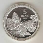 Moeda de Prata Comemorativa aos Jogos Olímpicos e Paralímpicos de 2016 - Fauna - Borboleta da Praia.
