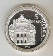 Moeda de Prata Comemorativa aos Jogos Olímpicos e Paralímpicos de 2016 - Arquitetura - Teatro Munic.