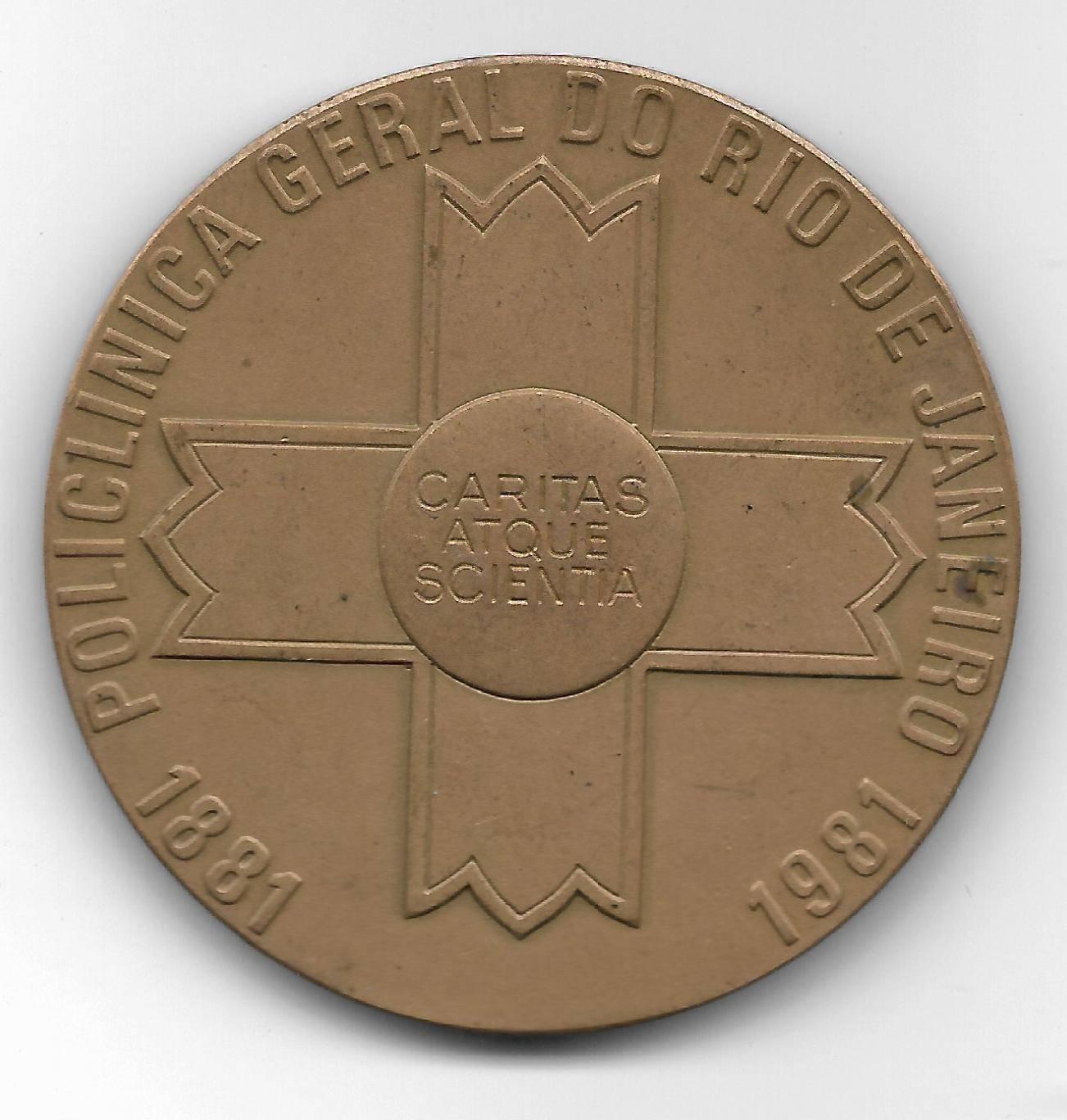 Medalha de Bronze - 100  Anos Policlinica Geral do RJ. - Numismática Vieira