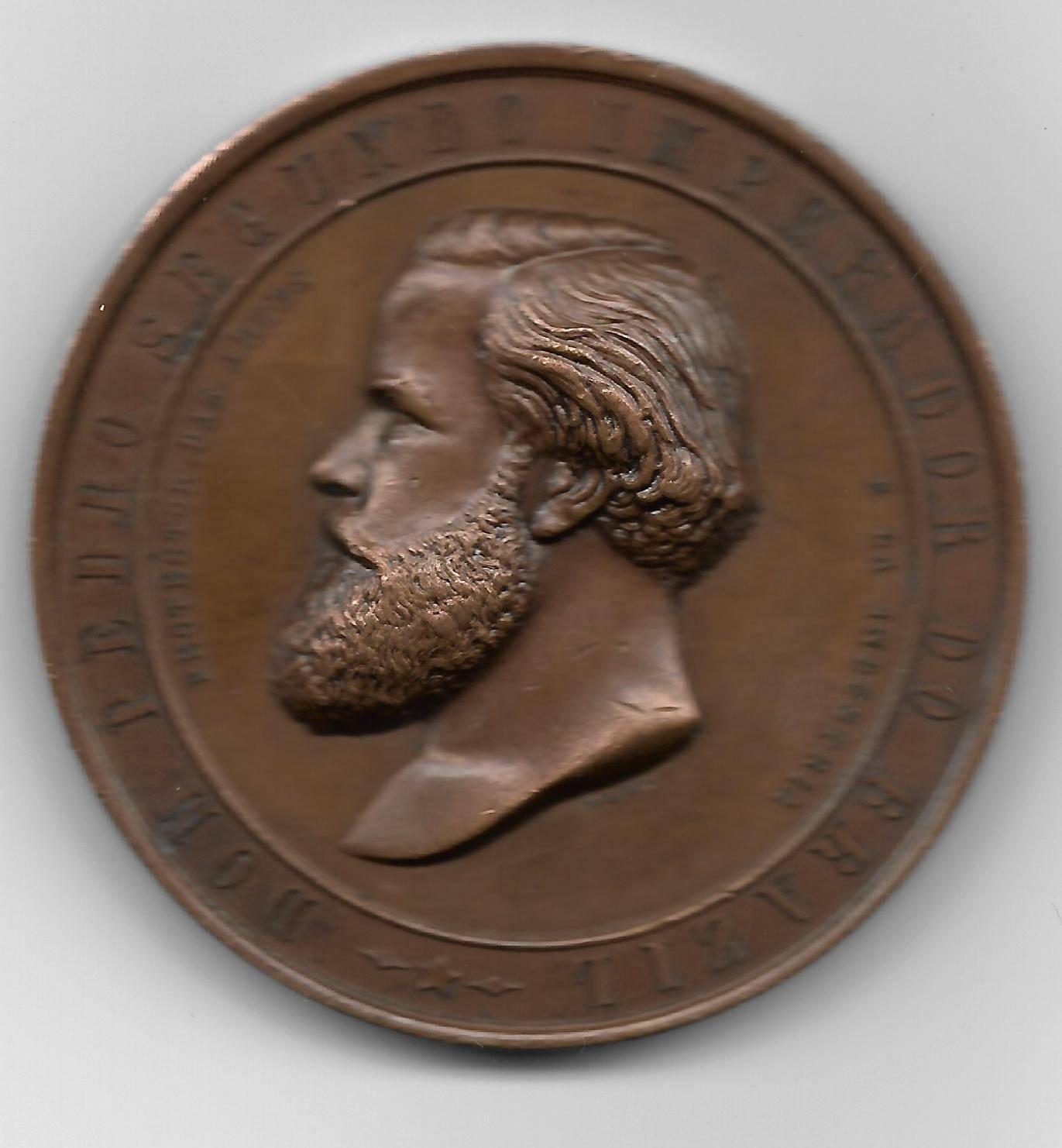 Medalha de Bronze - D.Pedro II Imperador do Brasil - Quarta Exposição. - Numismática Vieira