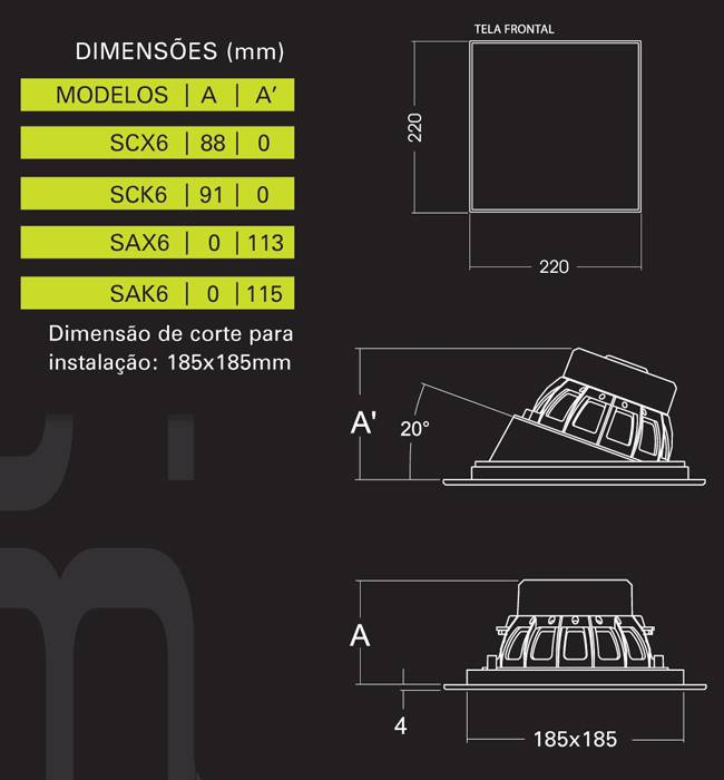 Caixa de Embutir Angulada 100W SAX6 - BSA - Ilha Suportes