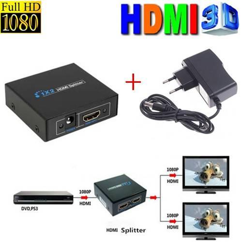 Splitter Distribuidor Amplificador HDMI - 1 entrada x 2 Saídas - Ilha Suportes
