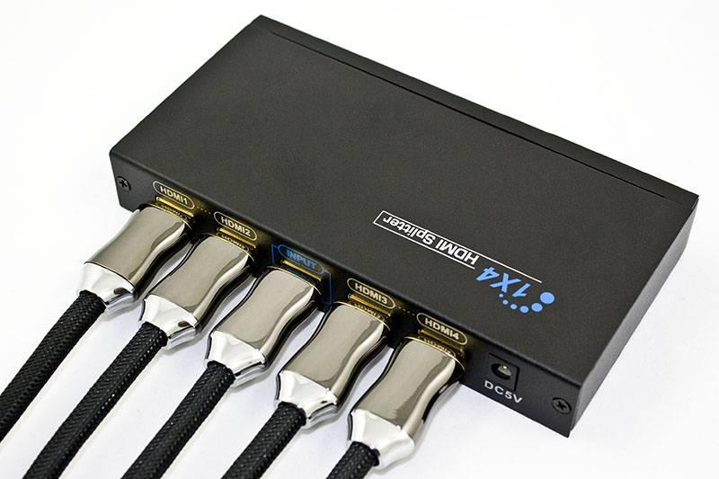 Splitter Distribuidor HDMI - 1 entrada x 4 Saídas - Ilha Suportes