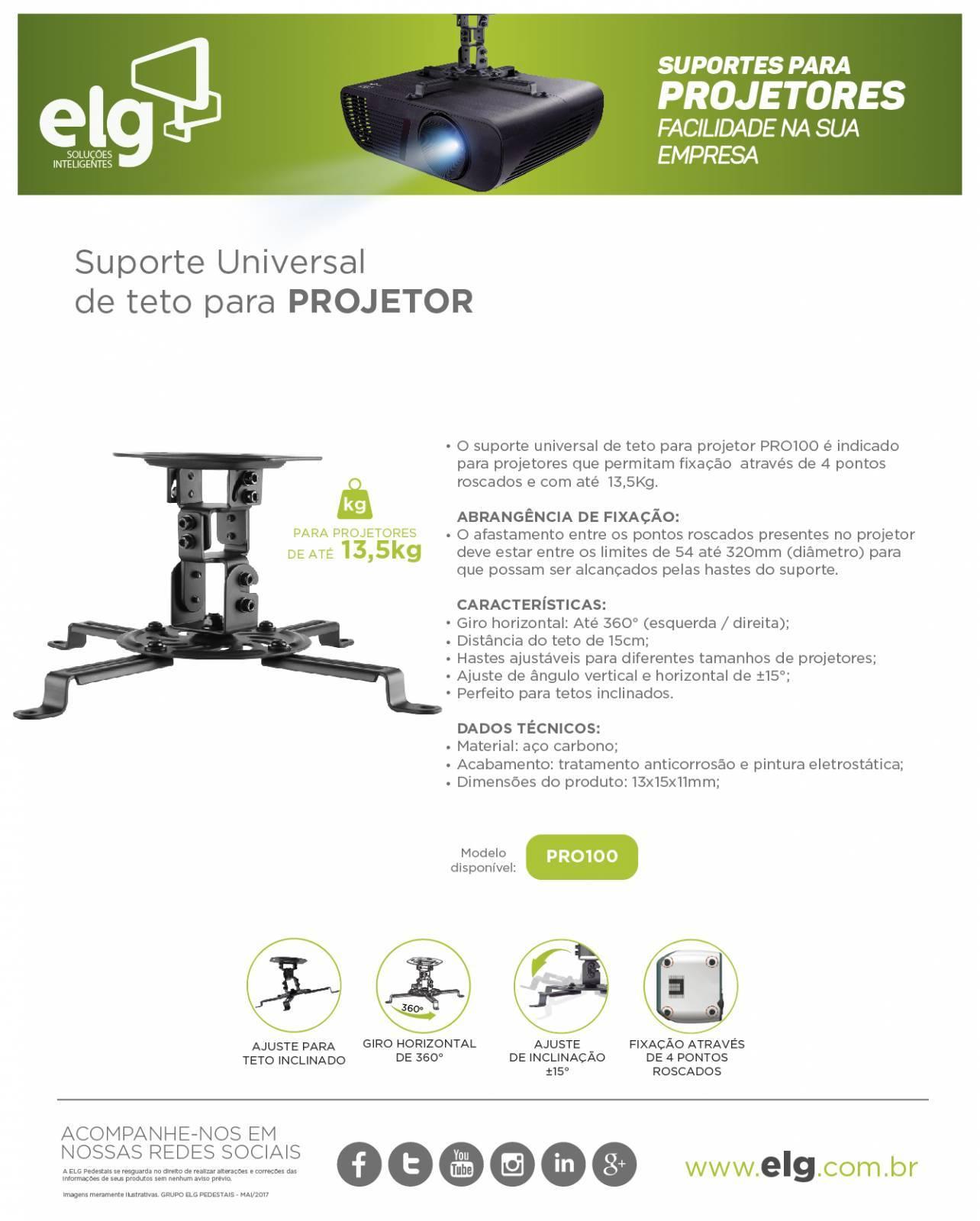 Suporte p/ Projetor PRO100 Branco - ELG - Ilha Suportes