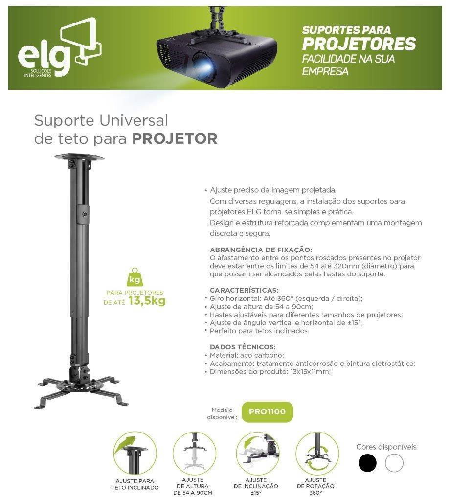 Suporte p/ Projetor PRO1100 Branco - ELG - Ilha Suportes