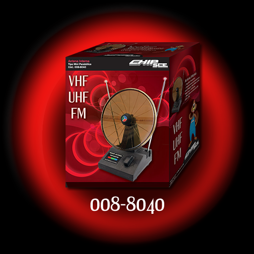 Antena Interna Tipo Mini Parabólica VHF/UHF/FM - CHIP SCE - Ilha Suportes