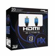Cabo HDMI 20mt 2.0/3D/4K 19 pinos 18Gbit/s - PIX | Ilha Suportes