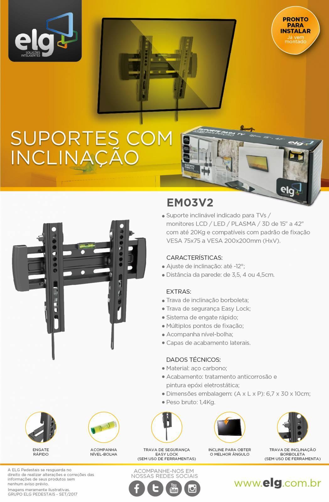 Suporte Inclinável tv 15 a 43 EM03V2 - ELG - Ilha Suportes