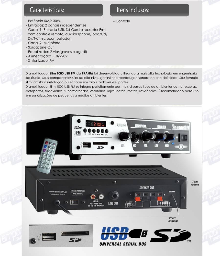 Amplificador Receiver até 12 cx Slim 1000 USB/SD CARD/AUX/FM - FRAHM - Ilha Suportes