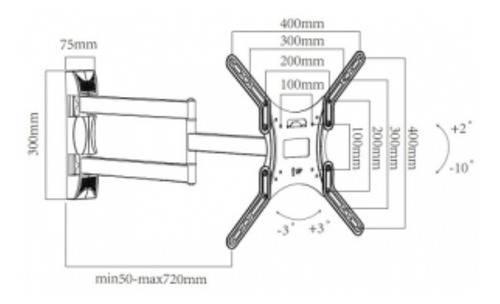Suporte Articulado Braço 72cm Tv 26 a 55 STA521NL - ARCTICUS - Ilha Suportes