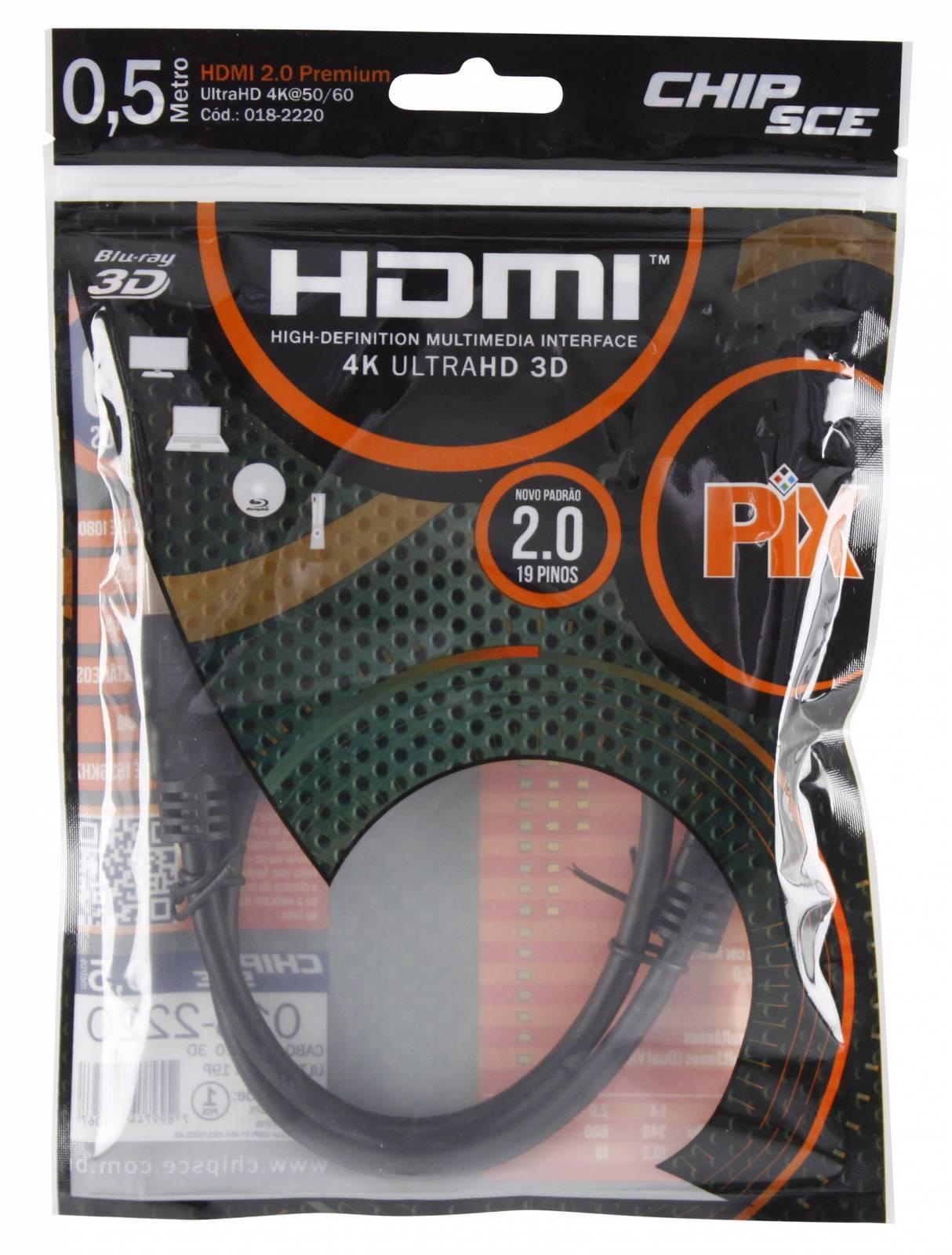 Cabo HDMI 0,5 mt 2.0/3D/4K 19 pinos 18Gbit/s - PIX - Ilha Suportes
