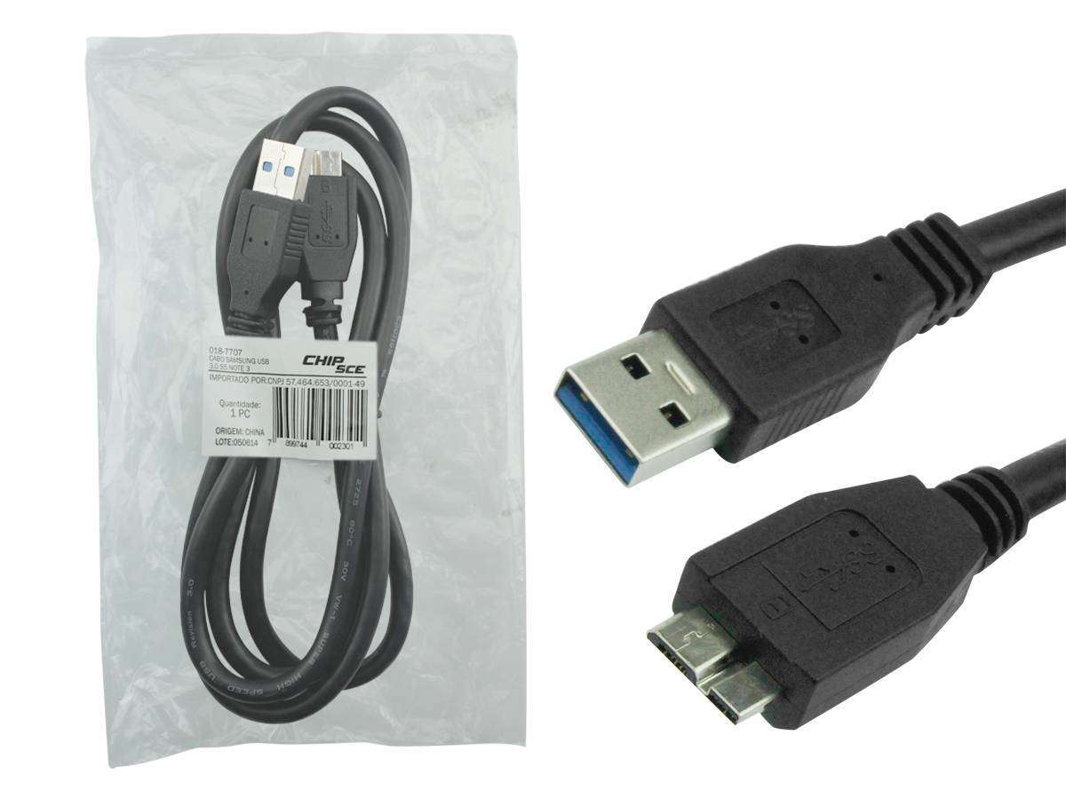 Cabo USB 3.0 1,2 metros p/ S5 NOTE 3 - CHIP SCE