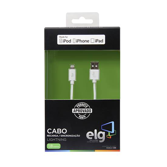 Cabo USB 2.0 1,8 metro p/ IPHONE 5/6 C818 - ELG - Ilha Suportes