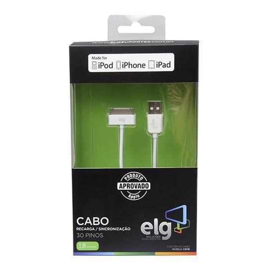 Cabo USB 2.0 1,8 metro p/ IPHONE 4 / 4S C3018 - ELG - Ilha Suportes