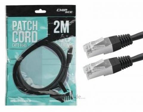 Cabo Patch Cord Cat6 FTP 2 metros Preto - CHIPSCE - Ilha Suportes