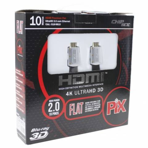 Cabo HDMI 10mt Flat ''Capa Removível'' 2.0 4K 18GBPS - PIX - Ilha Suportes