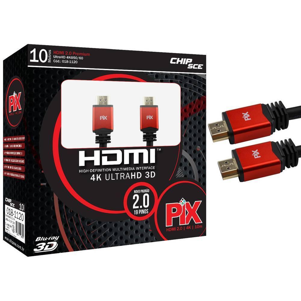 Cabo HDMI 10mt 2.0/3D/4K 19 pinos 18Gbit/s - PIX - Ilha Suportes