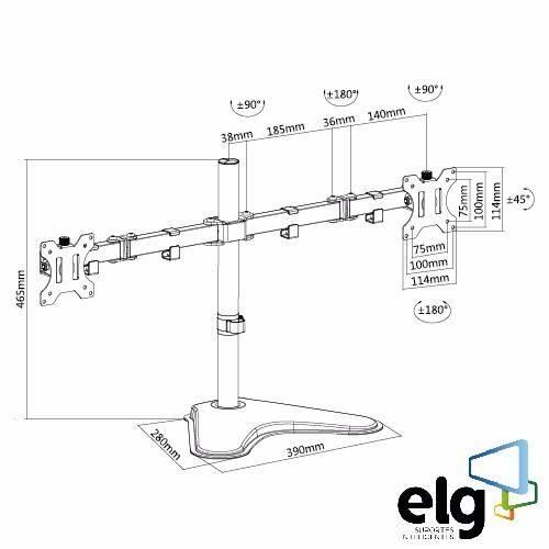 Suporte Para Dois Monitores De Mesa 15 A 32 T1224n Elg - Ilha Suportes