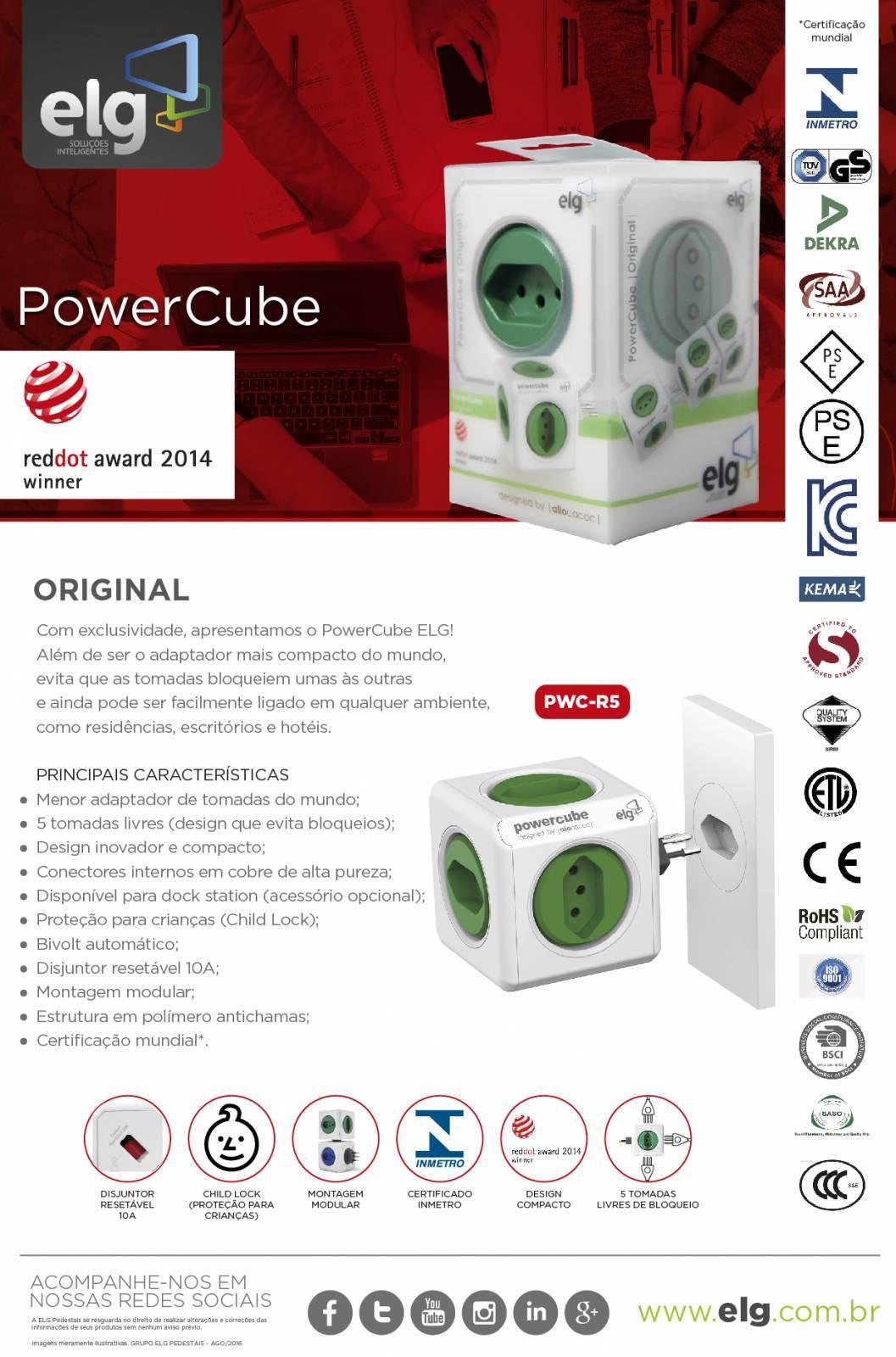 PowerCube Original PWC-R5 ELG Verde 5 Tomadas - Ilha Suportes
