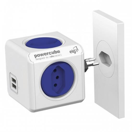 PowerCube Original PWC-R4U ELG Azul 4 Tomadas + 2 USB - Ilha Suportes