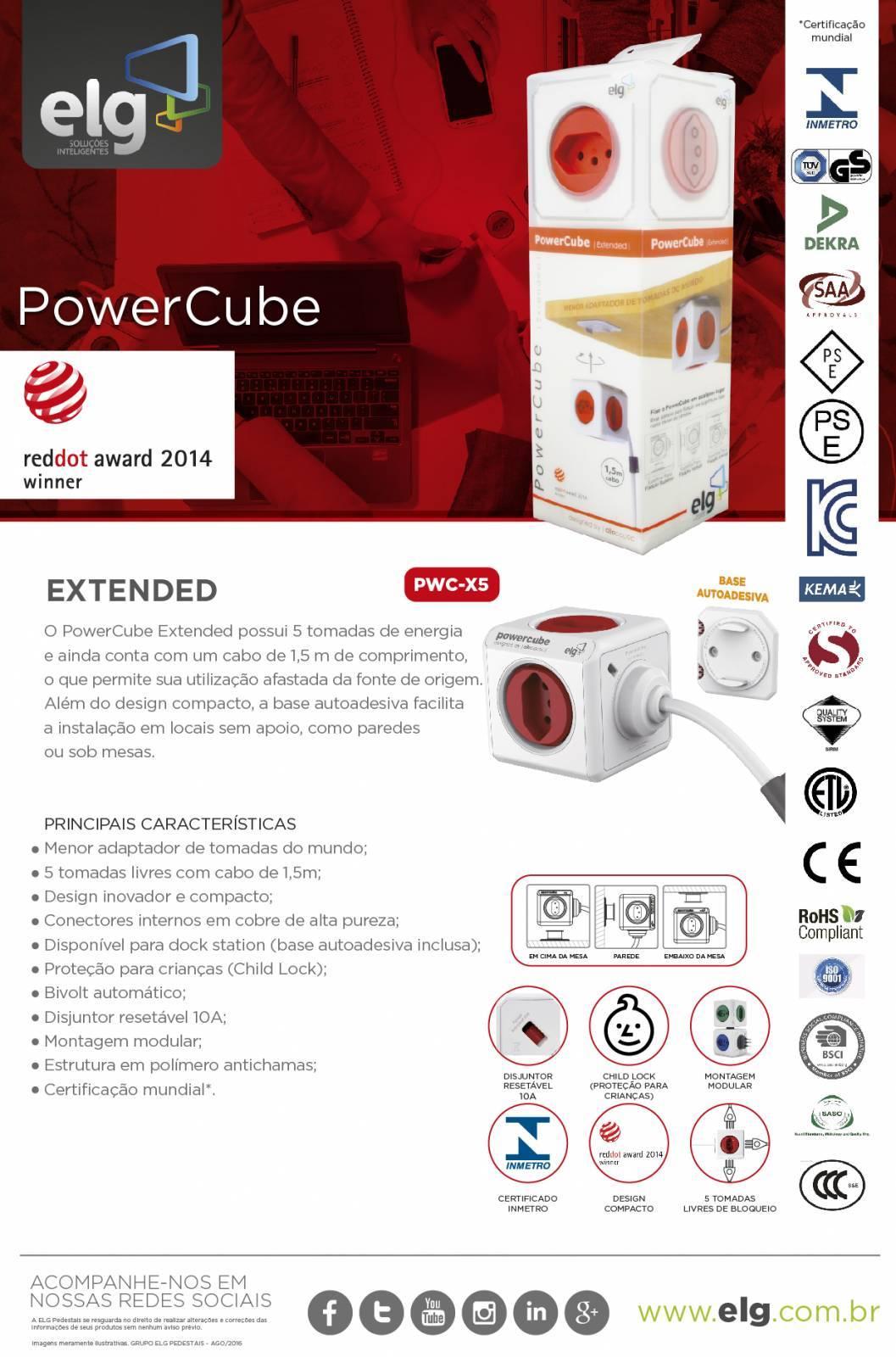 PowerCube Extended PWC-X5 ELG Vermelho 5 Tomadas com Cabo 1,5m - Ilha Suportes