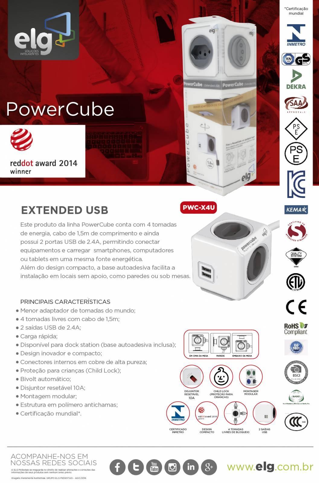 PowerCube Extended PWC-X4U ELG Cinza 4 Tomadas com Cabo 1,5m - Ilha Suportes