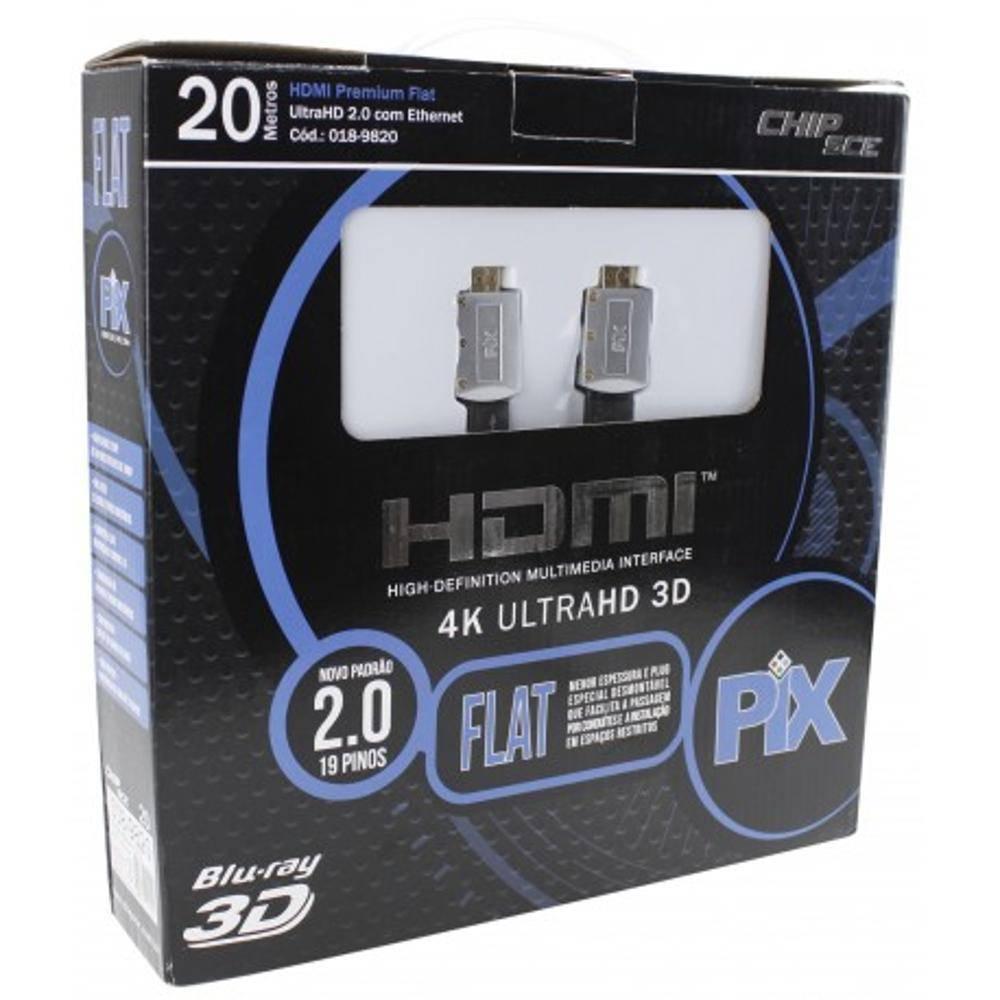 Cabo HDMI 20mt 2.0 Flat ''capa removível''UltraHD 4K - PIX - Ilha Suportes