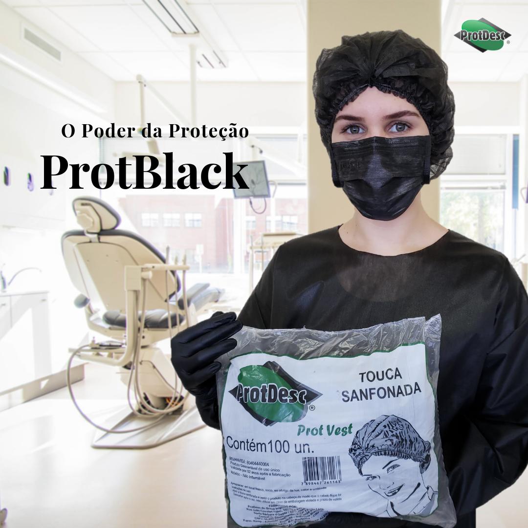 Touca Descartável Sanfonada Preta - Orto Curitiba