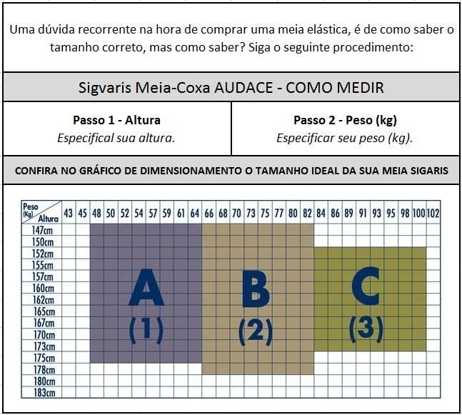 Meia De Compressão 7/8 Sigvaris Audace 15-20mmHg - Orto Curitiba