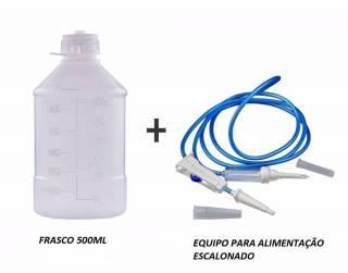 Kit Alimentação Enteral Frasco 500ml + Equipo