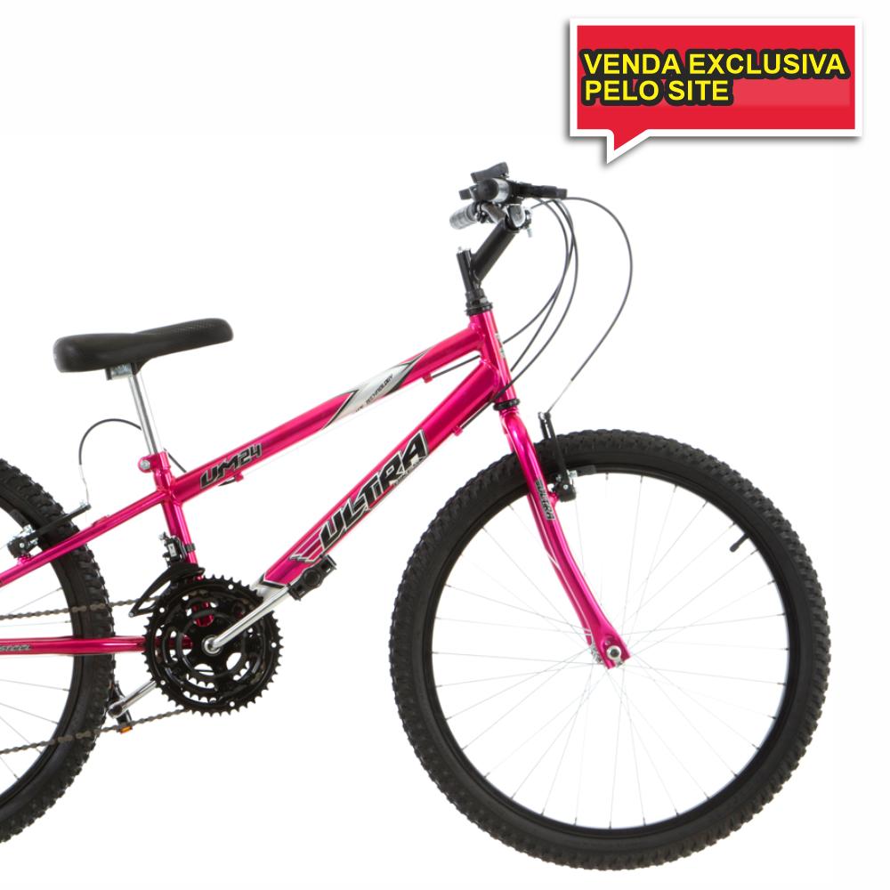 BICICLETA ARO 24 18V REBAIXADA ULTRA BIKES - CHROME LINE ROSA - Cicles Jahn